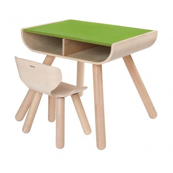 Plantoys tafel en stoel groen blabloom - Houten tafel en stoel ...