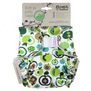 Petit Lulu One Size Luier Velcro Appels (4-15kg) Fluffy Organic