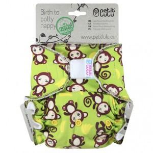 Petit Lulu One Size Luier Velcro Aapjes (4-15kg) Fluffy Organic