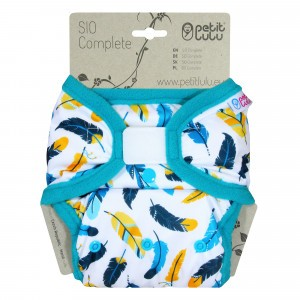 Petit Lulu Snap in One Luier Velcro Turquoise Feathers (4-15kg)