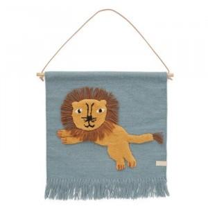 Oyoy Muurtapijt Jumping Lion