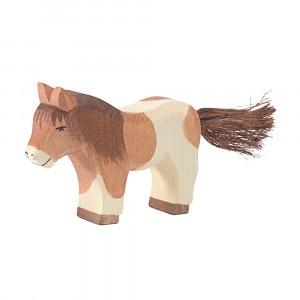 Ostheimer Houten boerderijdiertje Shetland Pony staand (5,8cm)