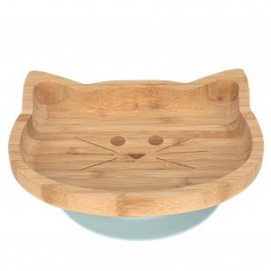 Lassig Bord Bamboe/Hout met silicone zuignap Little Chums Cat