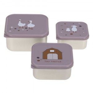 Lässig Snackdoosjes RVS (3 stuks) Tiny Farmer Lilac