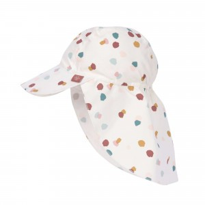 Lässig Splash & Fun Sun Protection Zonnehoedje met flap Spotted White