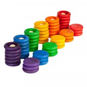 Grapat houten nins poppetjes met ringen en schijfjes