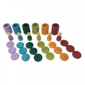 Grapat houten nins poppetjes met ringen en schijfjes zonder basiskleuren