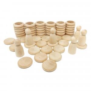 Grapat houten nins poppetjes met ringen en schijfjes natuur