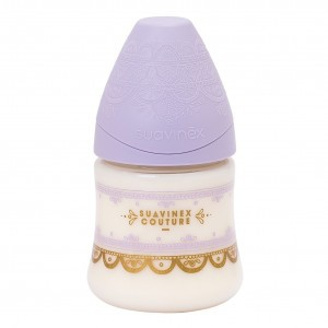 Suavinex HauteCouture Fles Silicone +0 maand S 150 ml Lila