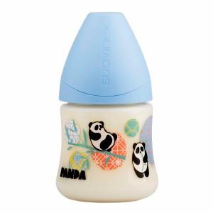 Suavinex Fles Anatomisch Silicone 0-6 maand Slow flow 150 ml Panda Blauw
