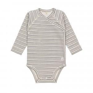 Lässig Overslag Body Lange Mouwen Striped Grey Anthracite