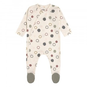 Lässig Pyjama met voetjes Circles Offwhite