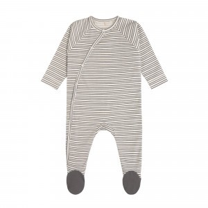Lässig Pyjama met voetjes Striped Grey Anthracite