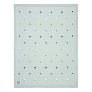 Lässig Gebreide deken Dots Light Mint (80 x 110 cm)