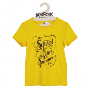 Six Hugs & Rock 'n Roll T-shirt School is out Geel
