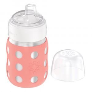 Lifefactory RVS Babyfles Wijde Hals incl. Zachte Tuit (235 ml) Cantaloupe