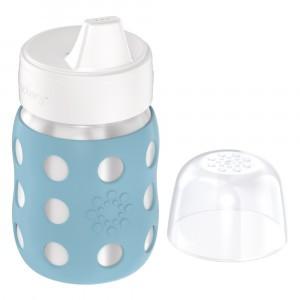 Lifefactory RVS Babyfles Wijde Hals incl. Harde Tuit (235 ml) Denim