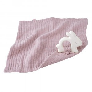 Kikadu Knuffeldoekje met bijtring Konijn - Licht Roze