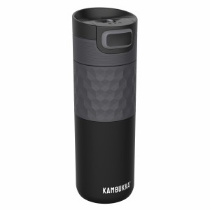 Kambukka Thermische Drinkfles ETNA 500 ml Black Steel GRIP Zwart