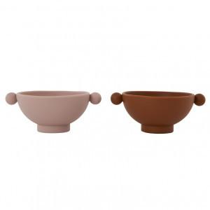 Oyoy Tiny Inka Silicone Bowl Caramel / Rose (2 stuks)