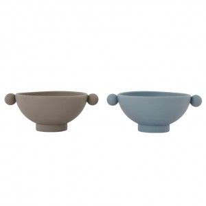 Oyoy Tiny Inka Silicone Bowl Dusty Blue / Clay (2 stuks)