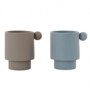 Oyoy Tiny Inka Silicone Cup Dusty Blue / Clay (2 stuks)