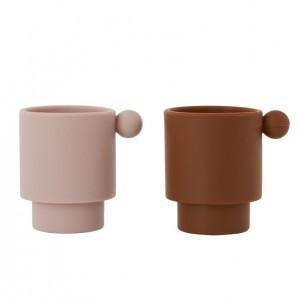Oyoy Tiny Inka Silicone Cup Caramel / Rose (2 stuks)