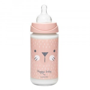 Suavinex Glazen Fles Hygge 3 Positie Silicone 240 ml Pink Whiskers