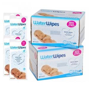 WaterWipes Voordeelpakket 24 Pakjes (1440 doekjes) + 4 Reispakjes (112 doekjes)