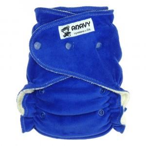 Anavy Velours One Size Luier met snaps Blauw (4-15 kg)