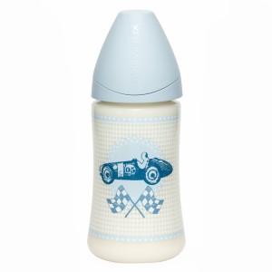 Suavinex Fles Anatomisch Silicone 0-6 maand Medium flow 270 ml Rose & Bleu Toy