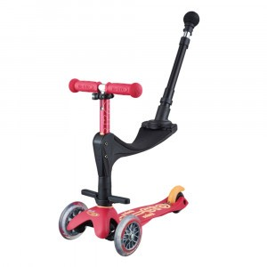 Micro Step Mini Deluxe 3 in 1 Ruby Red (Push Bar)