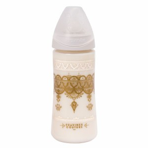 Suavinex HauteCouture Fles Silicone +4 maand L 360 ml Grey