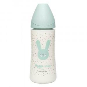 Suavinex Fles Hygge Silicone 360 ml + 4 maanden L Green Rabbits