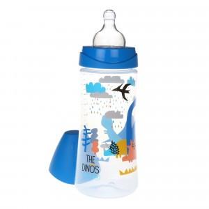 Suavinex Fles Silicone 360 ml + 4 maanden L The Dinos Blauw