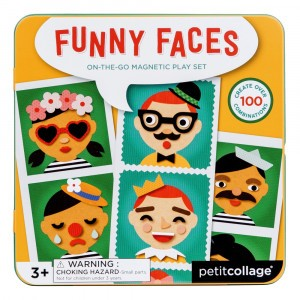 Petit Collage Magnetisch Spel On-the-Go Funny Faces