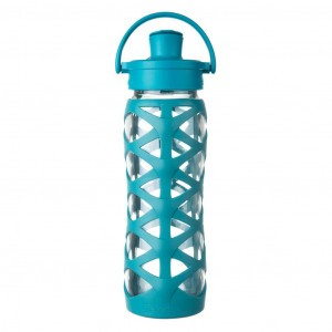 Lifefactory Glazen Drinkfles 650 ml Active Flip Cap - Ultra Marine