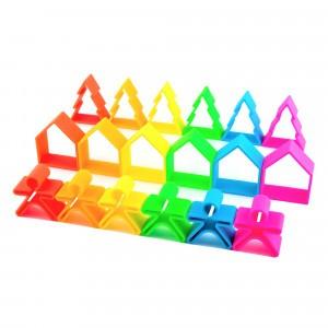 Dëna Silicone Speelgoed 6 Poppetjes + 6 Huizen + 6 Bomen Neon
