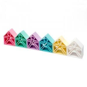 Dëna Silicone Speelgoed 6 Poppetjes + 6 Huizen Pastel