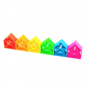 Dëna Silicone Speelgoed 6 Poppetjes + 6 Huizen Neon