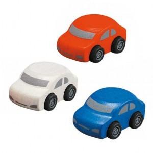 PlanToys Voertuigen  Gekleurde Auto's ( oranje - wit - blauw )