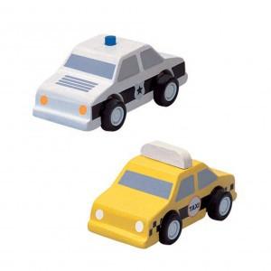 PlanToys Voertuigen Taxi en Politiewagen