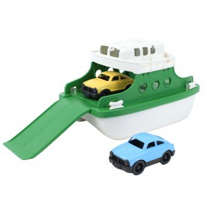 Green Toys Ferry Boot groen/wit met auto's
