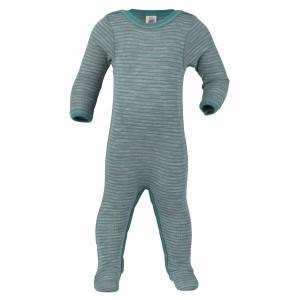 Engel Wollen Pyjama met voetjes Aqua gestreept (maat 74-80)