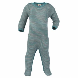 Engel Wollen Pyjama met voetjes Aqua gestreept (maat 50-56)