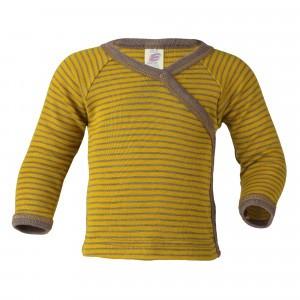 Engel Wol-Zijde Overslag T-shirt met lange mouwen Fine Rib Safraan