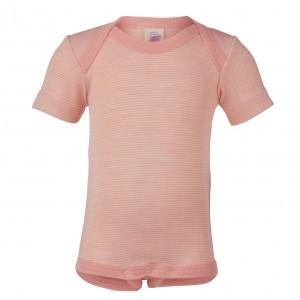 Engel Wollen Body met korte mouwen Roze gestreept (maat 74-80)