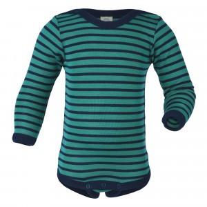 Engel Wol-Zijde Body met lange mouwen Fine Rib IJsblauw/Marineblauw (Baby)