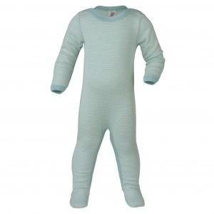 Engel Wollen Pyjama met voetjes Blauw gestreept (maat 62-68)