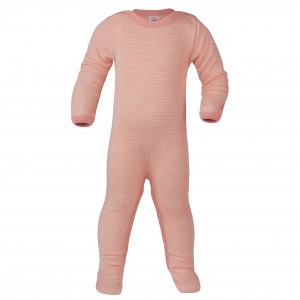 Engel Wollen Pyjama met voetjes Roze gestreept (maat 86-92)